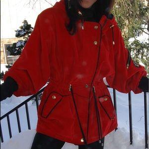 """Skea"" / Paris Vail Red Velvet  Ski  coat size 8"